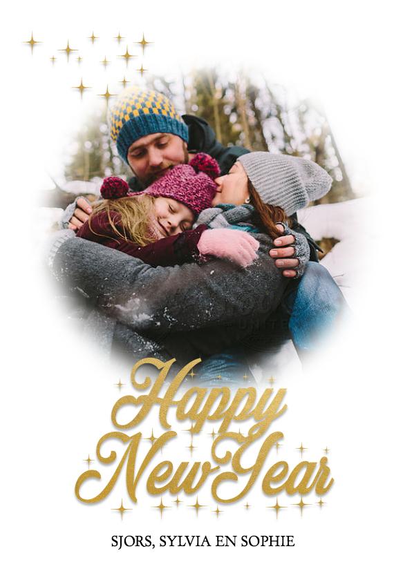 Nieuwjaarskaarten - Nieuwjaarskaart Happy New year in goud