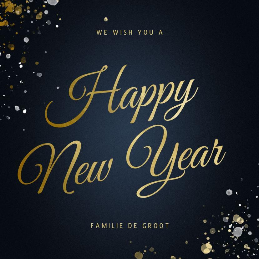 Nieuwjaarskaarten - Nieuwjaarskaart Happy new Year klassiek met sterren