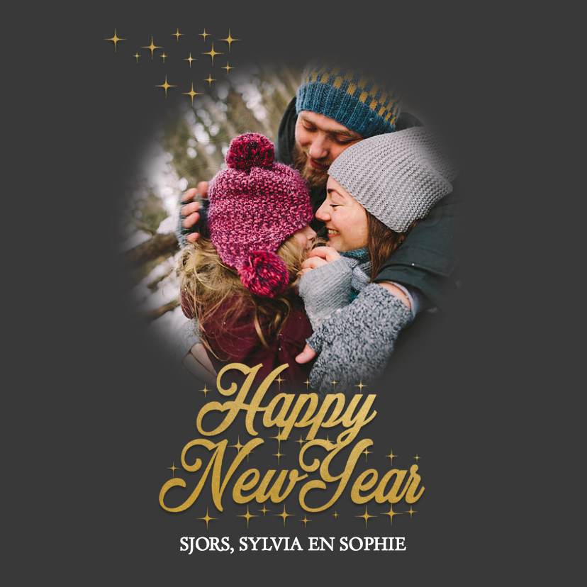 Nieuwjaarskaarten - Nieuwjaarskaart happy new year met foto