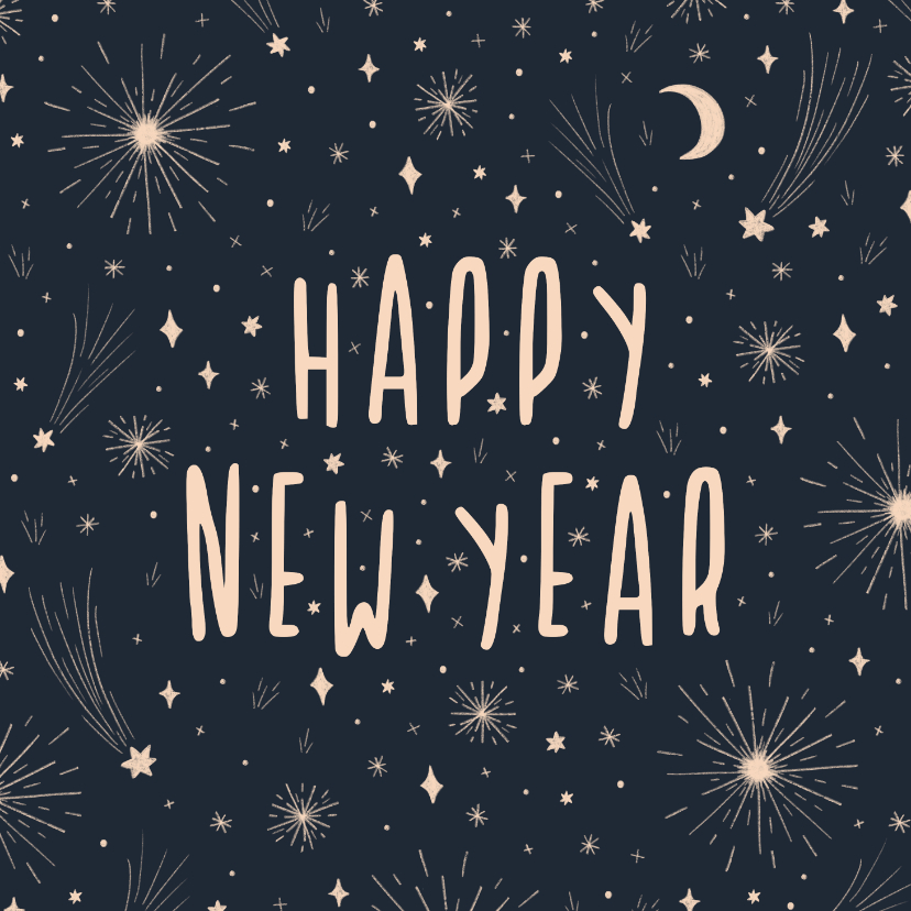 Nieuwjaarskaarten - Nieuwjaarskaart happy new year met vuurwerk en sterren