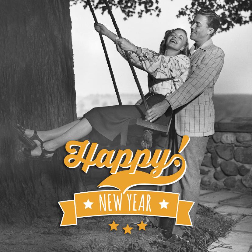 Nieuwjaarskaarten - Nieuwjaarskaart Happy! new year retro