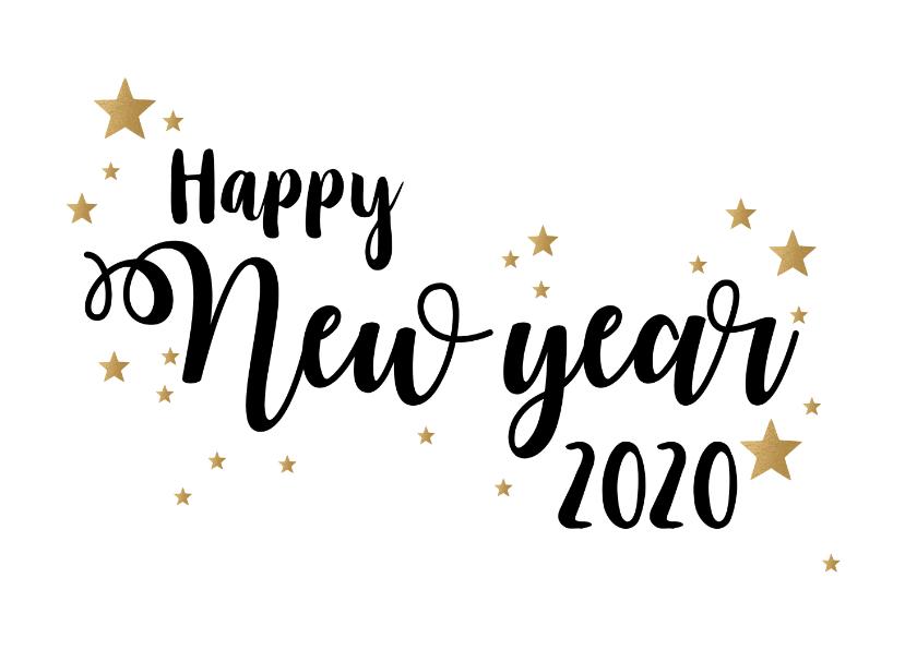 Nieuwjaarskaarten - Nieuwjaarskaart happy New Year stars