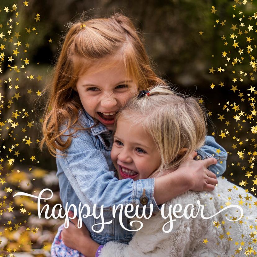Nieuwjaarskaarten - Nieuwjaarskaart happy new year sterren