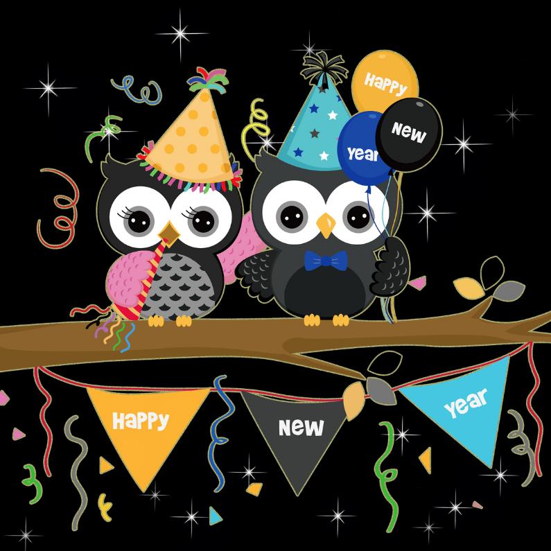 Nieuwjaarskaarten - Nieuwjaarskaart Happy new year - uilen vierkant
