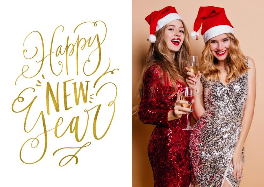 Nieuwjaarskaarten - Nieuwjaarskaart Happy New Year wit met goud