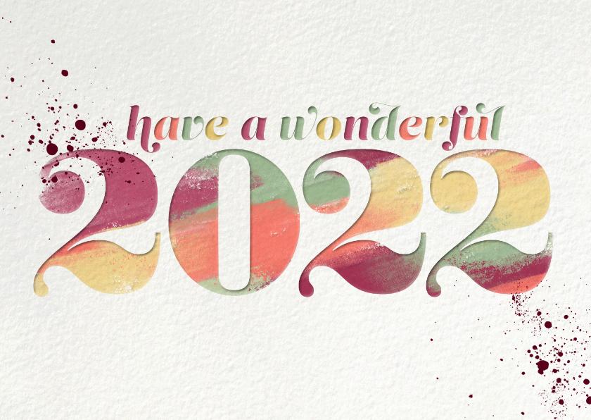 Nieuwjaarskaarten - Nieuwjaarskaart 'Have a wonderful 2022'