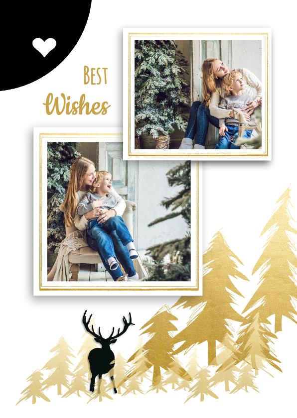 Nieuwjaarskaarten - Nieuwjaarskaart herten bomen fotolijst