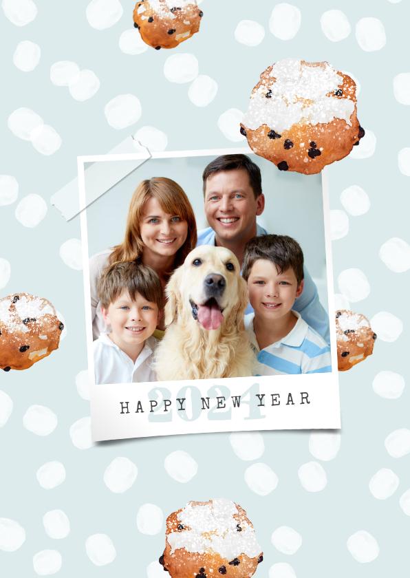 Nieuwjaarskaarten - Nieuwjaarskaart hip foto stippen oliebollen