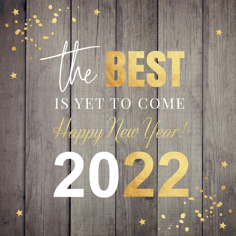 Nieuwjaarskaarten - Nieuwjaarskaart hout 2022 typografie confetti goudlook