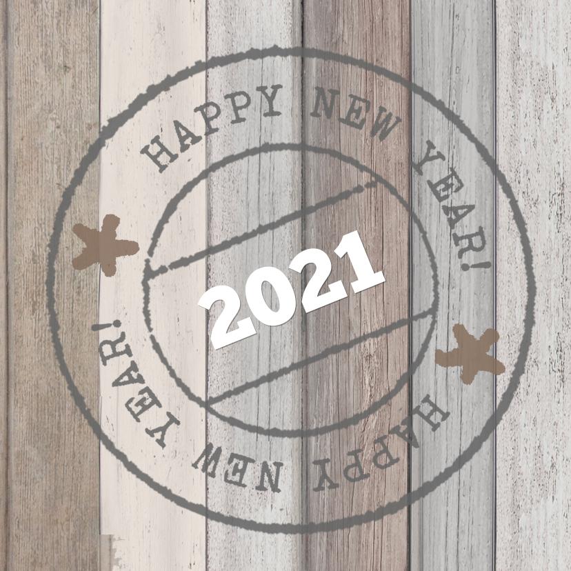 Nieuwjaarskaarten - Nieuwjaarskaart hout poststempel