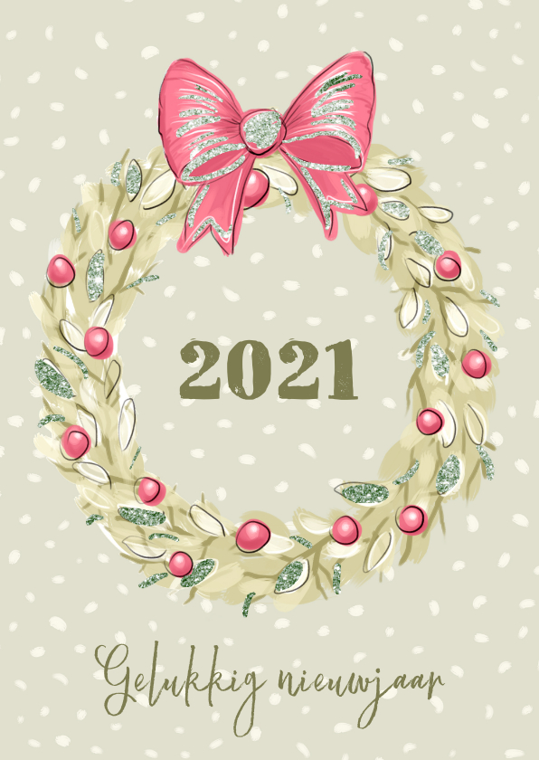 Nieuwjaarskaarten - Nieuwjaarskaart krans en gemberkoek