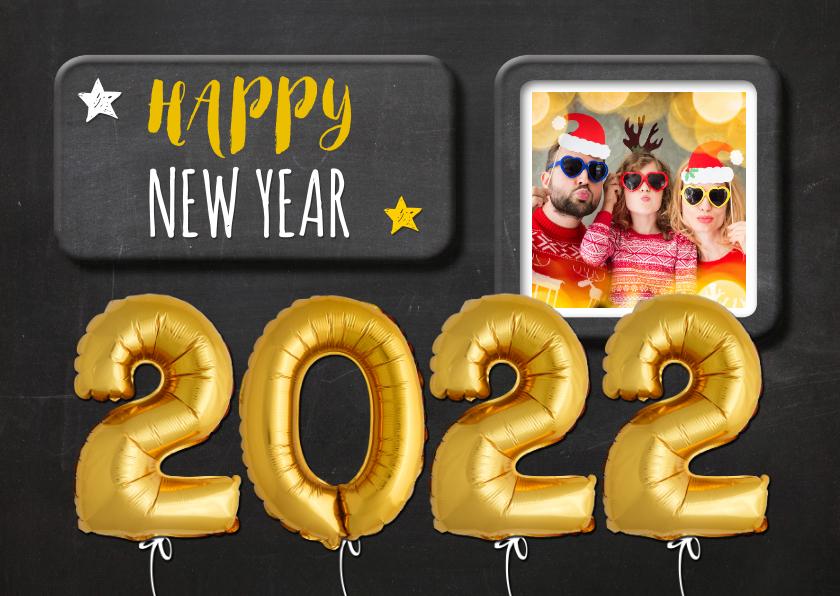 Nieuwjaarskaarten - Nieuwjaarskaart krijtbord ballonnen goud