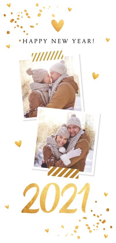 Nieuwjaarskaarten - Nieuwjaarskaart langwerpig foto confetti goudlook