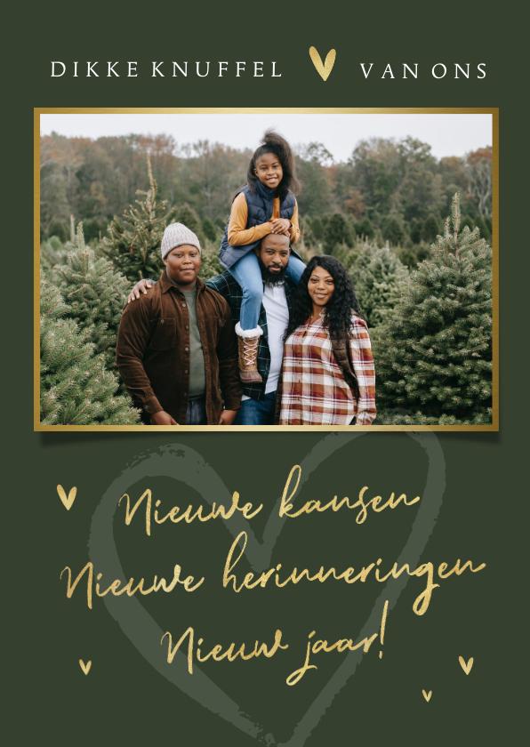 Nieuwjaarskaarten - Nieuwjaarskaart liefde foto groen goud hartjes