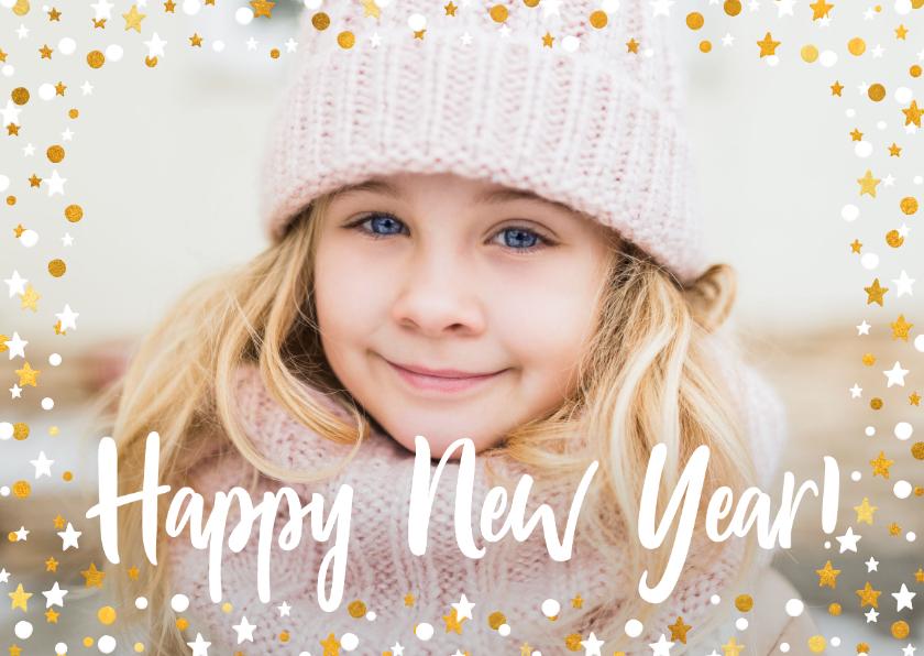 Nieuwjaarskaarten - Nieuwjaarskaart liggend gouden sterren met confetti en foto