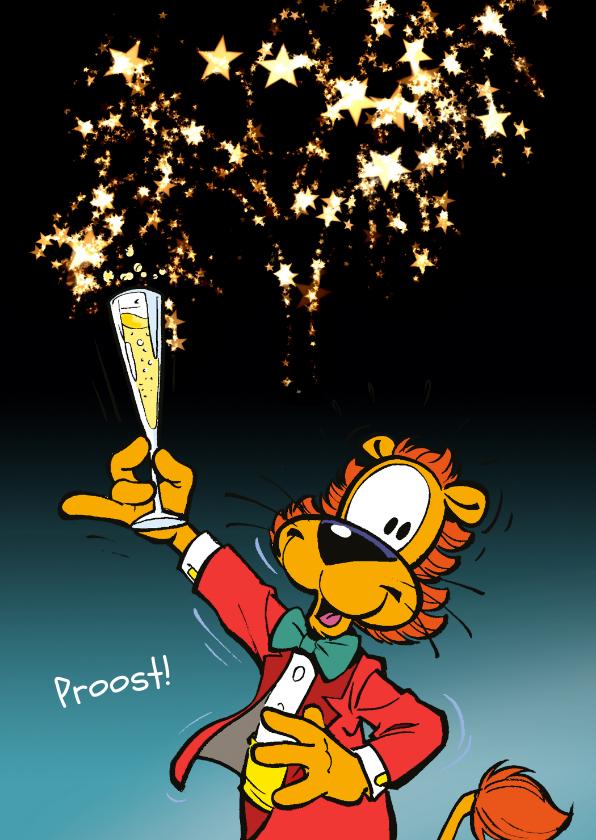 Nieuwjaarskaarten - Nieuwjaarskaart Loeki proost Champagne - A