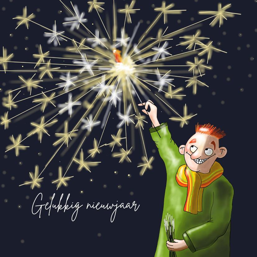 Nieuwjaarskaarten - Nieuwjaarskaart man met sterretjes