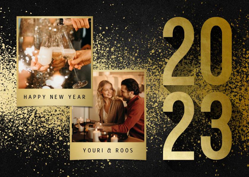 Nieuwjaarskaarten - Nieuwjaarskaart met 2 foto's goudlook 2022 en spetters