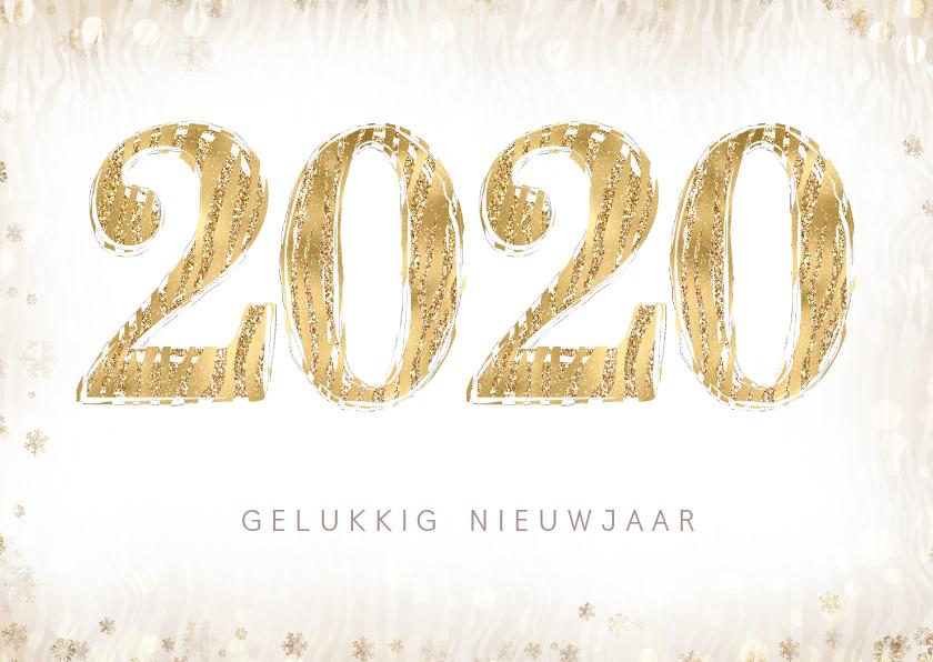 Nieuwjaarskaarten - Nieuwjaarskaart met 2020 in dierenprint