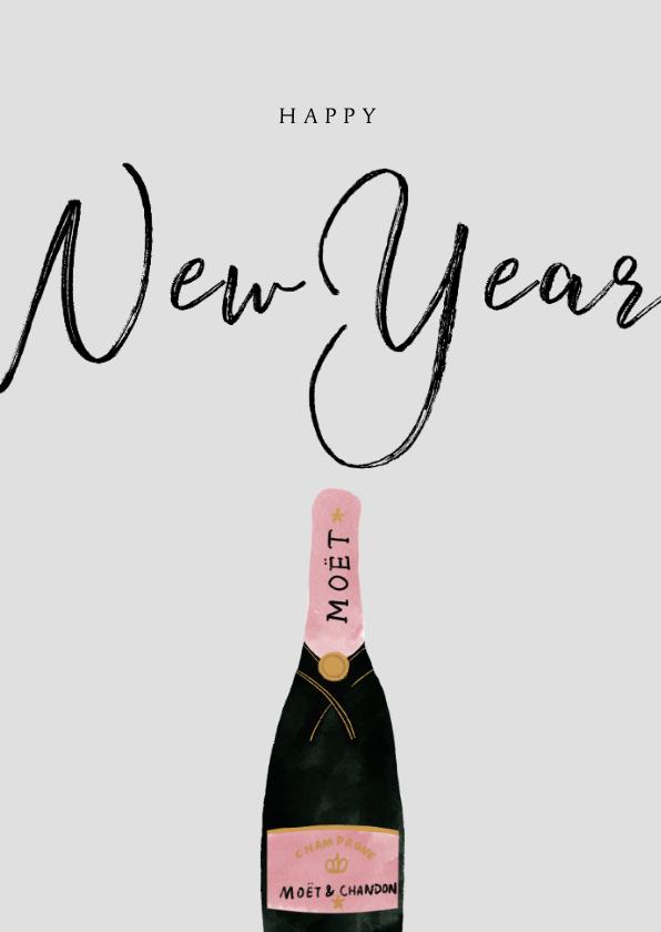 Nieuwjaarskaarten - Nieuwjaarskaart met champagnefles en happy New Year
