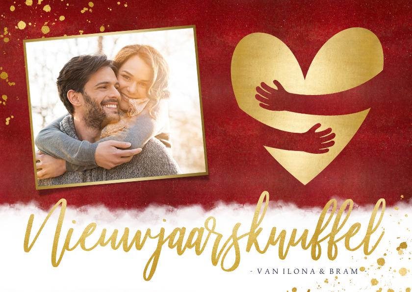 Nieuwjaarskaarten - Nieuwjaarskaart met foto & nieuwjaarsknuffel in gouden hart