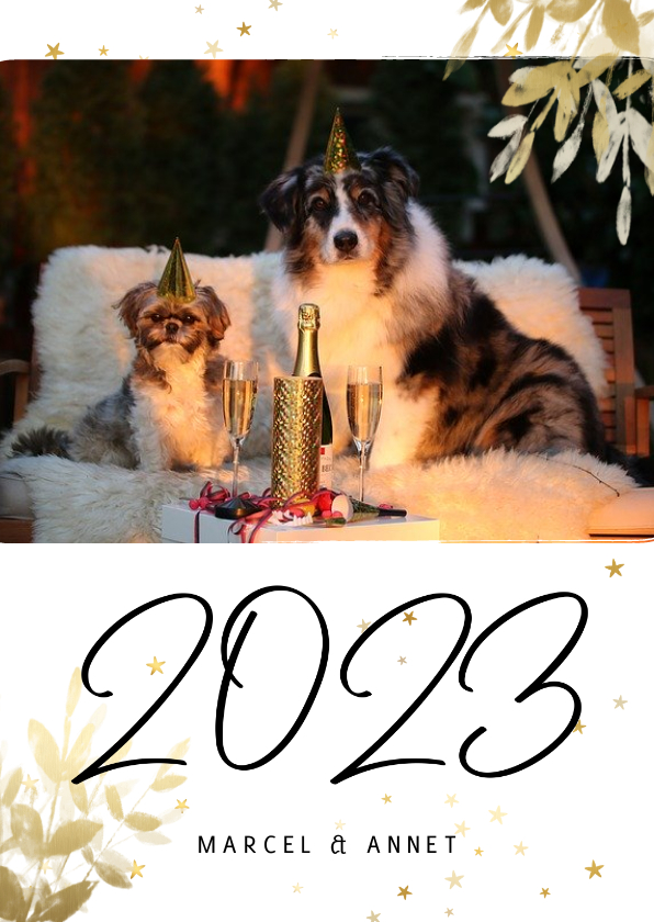 Nieuwjaarskaarten - Nieuwjaarskaart met foto, gouden sterren en 2022