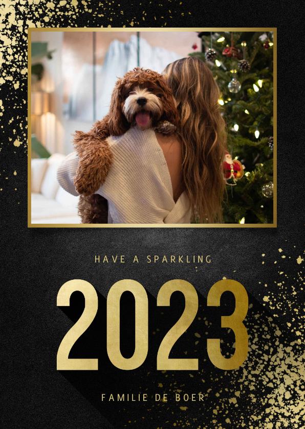 Nieuwjaarskaarten - Nieuwjaarskaart met foto goudlook 2022 en spetters