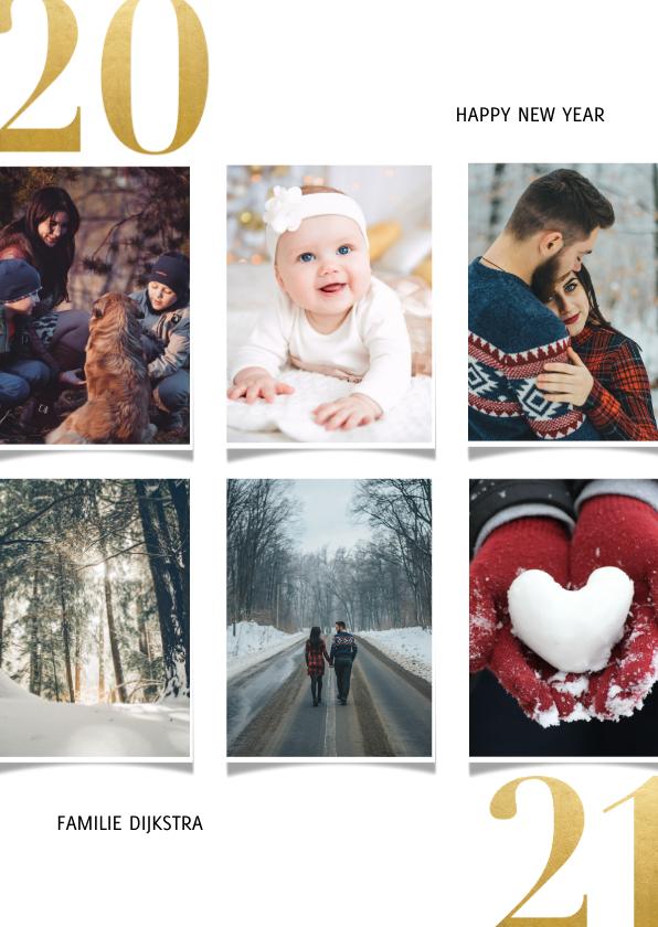 Nieuwjaarskaarten - Nieuwjaarskaart met fotocollage en gouden 2020