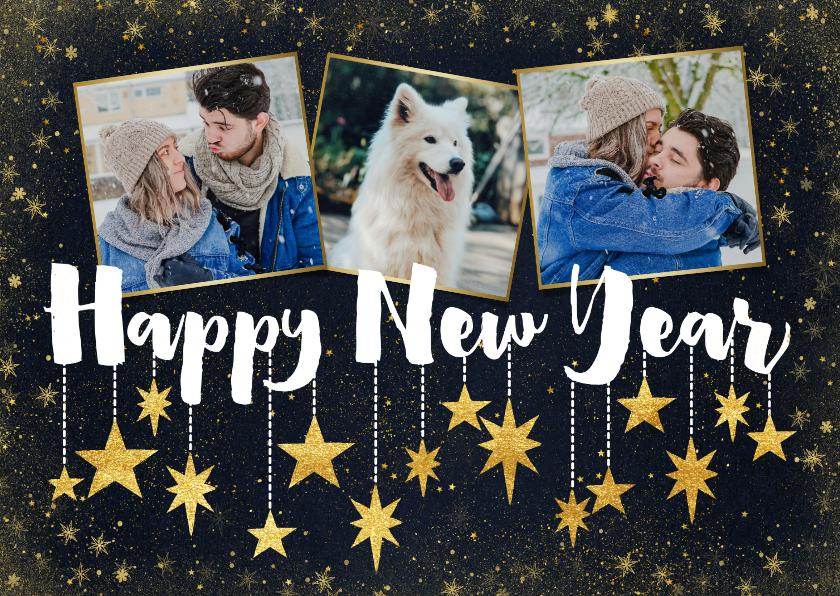 Nieuwjaarskaarten - Nieuwjaarskaart met foto's, typografie en hangende sterren