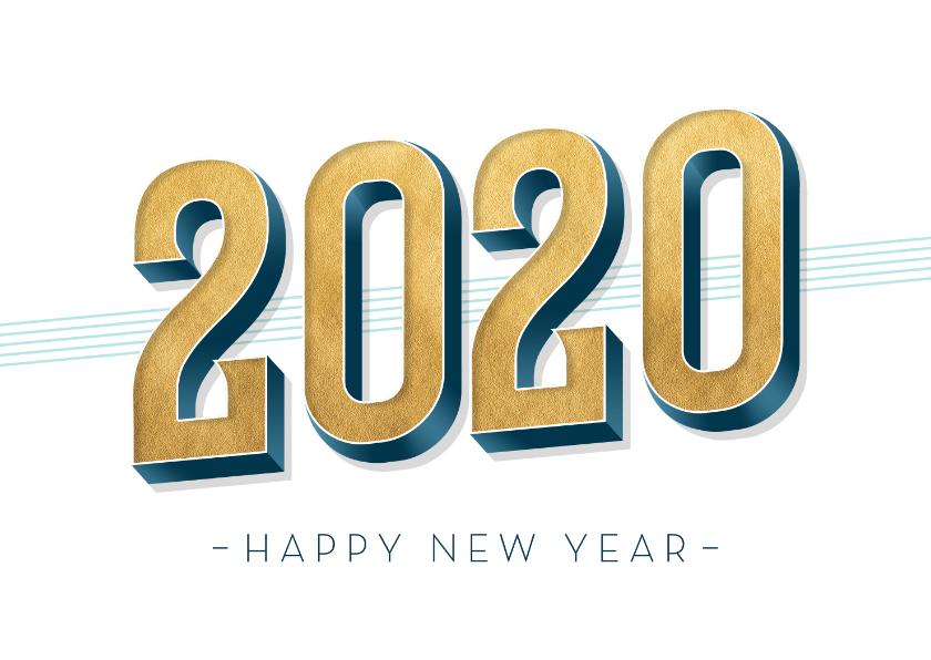 Nieuwjaarskaarten - Nieuwjaarskaart met gouden cijfers