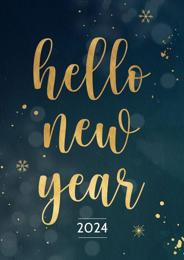 Nieuwjaarskaarten - Nieuwjaarskaart met gouden sneeuwvlokken