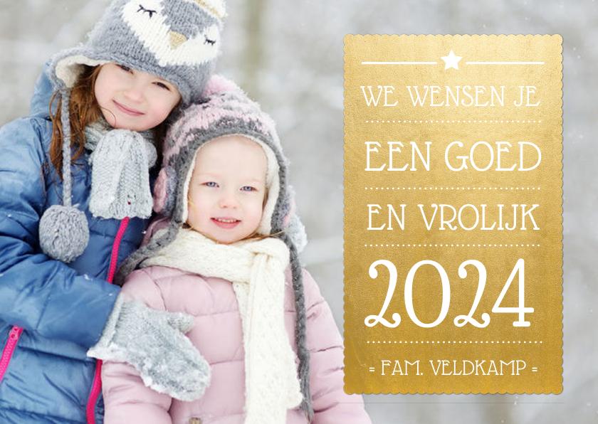 Nieuwjaarskaarten - Nieuwjaarskaart met goudlook vlak en foto achtergrond