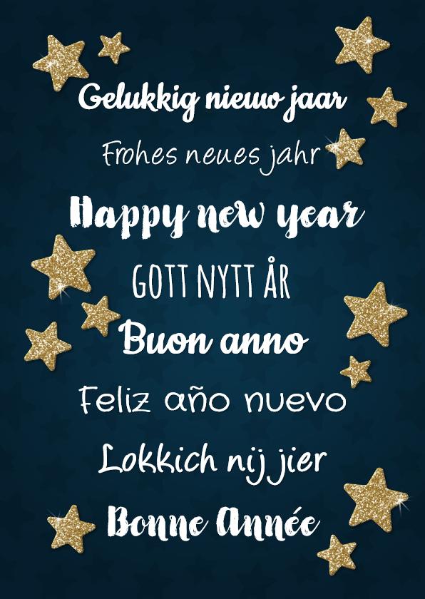 Nieuwjaarskaarten - Nieuwjaarskaart met 'happy new year' in diverse talen