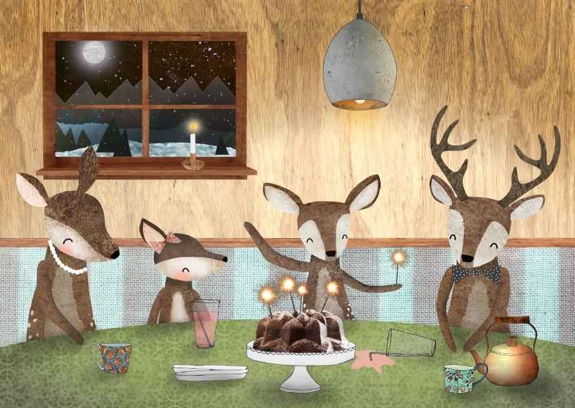 Nieuwjaarskaarten - Nieuwjaarskaart met hertjes aan een gezellige tafel