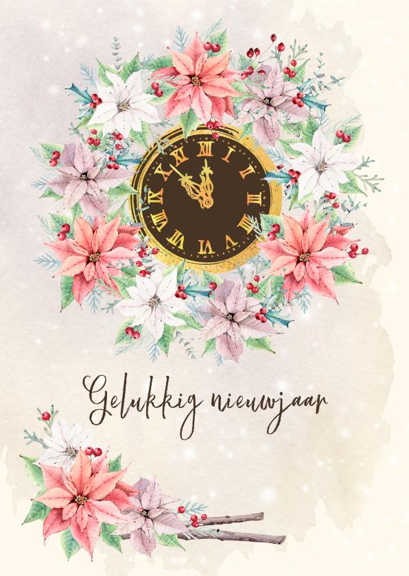 Nieuwjaarskaarten - Nieuwjaarskaart met kerstgroen en klok