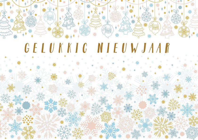 Nieuwjaarskaarten - Nieuwjaarskaart met kerstitems in pastel