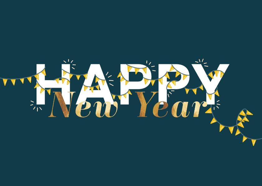 Nieuwjaarskaarten - Nieuwjaarskaart met slingers