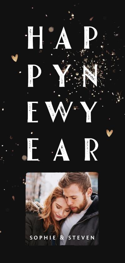 Nieuwjaarskaarten - Nieuwjaarskaart met typografie, vuurwerk en foto
