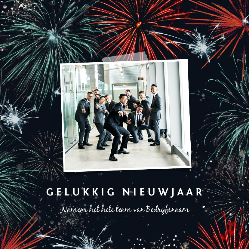Nieuwjaarskaarten - Nieuwjaarskaart met vuurwerk en foto