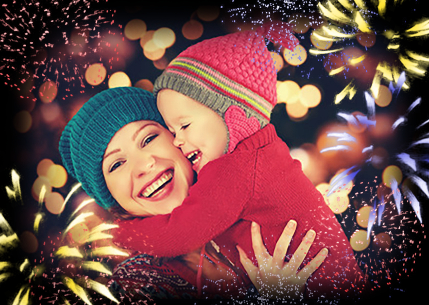 Nieuwjaarskaarten - Nieuwjaarskaart met vuurwerk