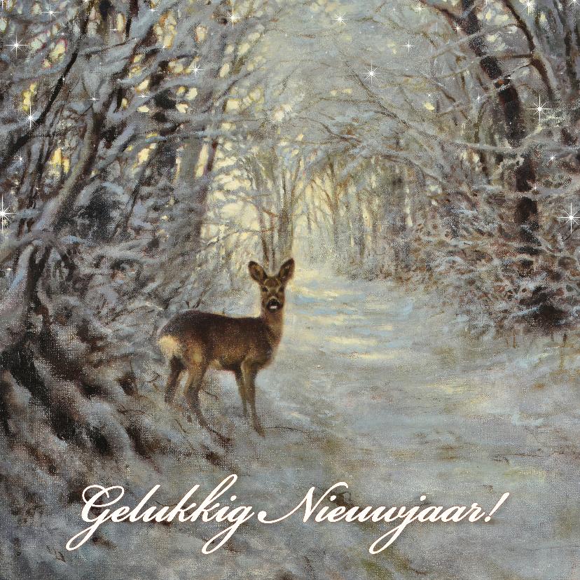 Nieuwjaarskaarten - Nieuwjaarskaart met wintertafereel Hert in bos