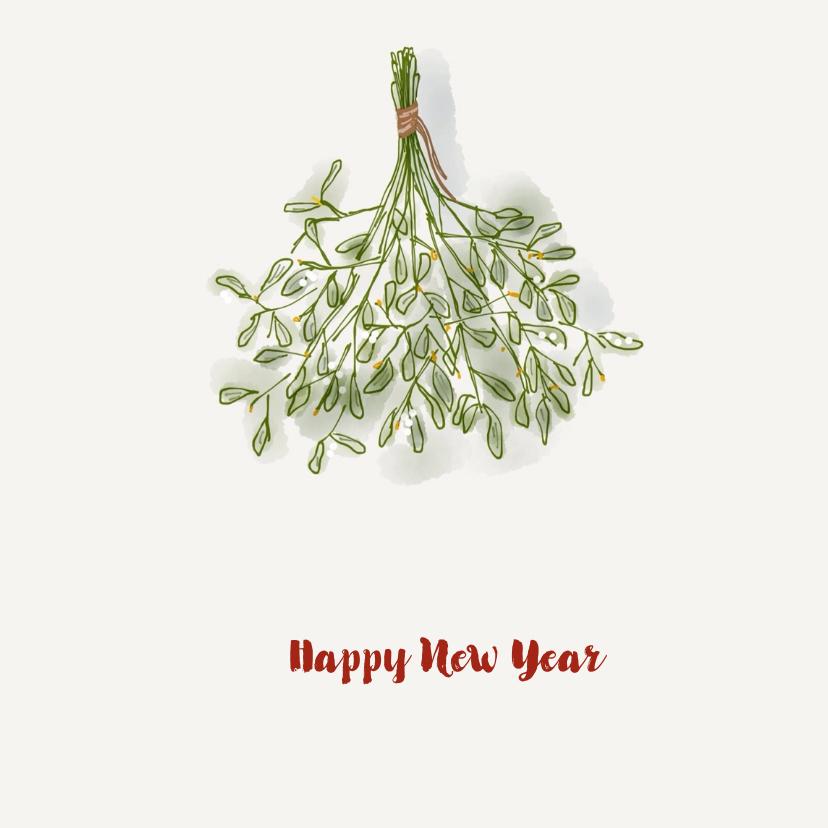 Nieuwjaarskaarten - Nieuwjaarskaart mistletoe