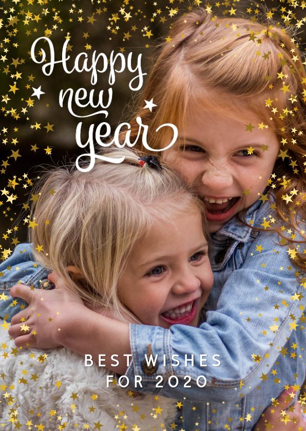 Nieuwjaarskaarten - Nieuwjaarskaart modern met sterren en foto