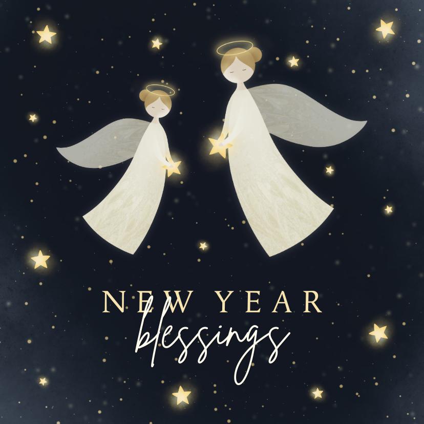 Nieuwjaarskaarten - Nieuwjaarskaart New Year Blessings met 2 engelen en sterren