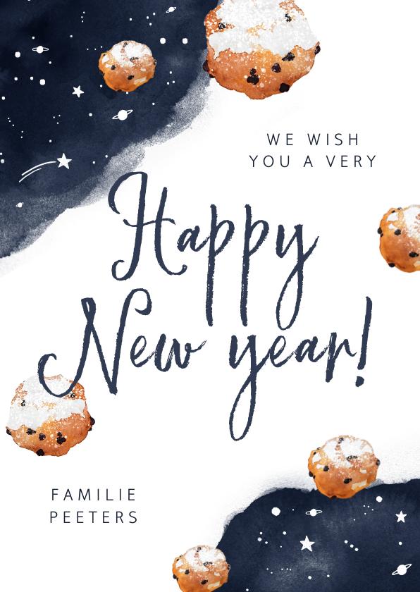 Nieuwjaarskaarten - Nieuwjaarskaart oliebollen waterverf nacht