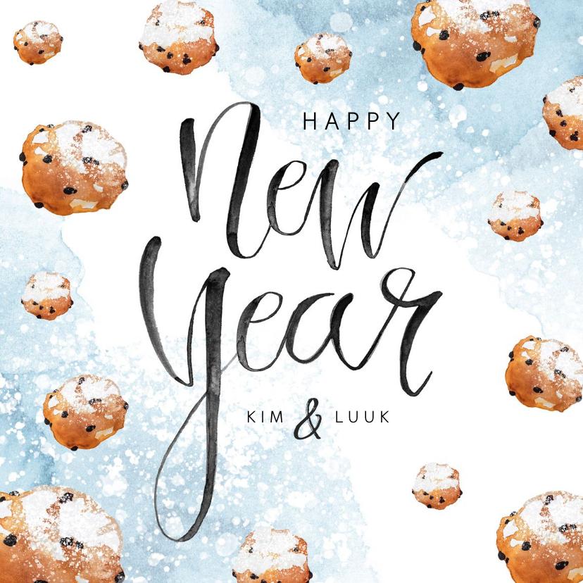 Nieuwjaarskaarten - Nieuwjaarskaart oliebollen waterverf poedersuiker