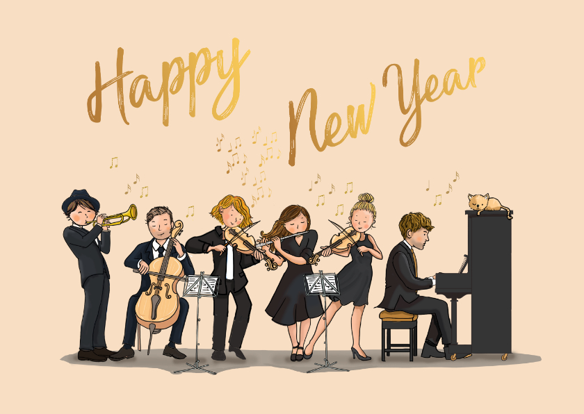 Nieuwjaarskaarten - Nieuwjaarskaart orkest