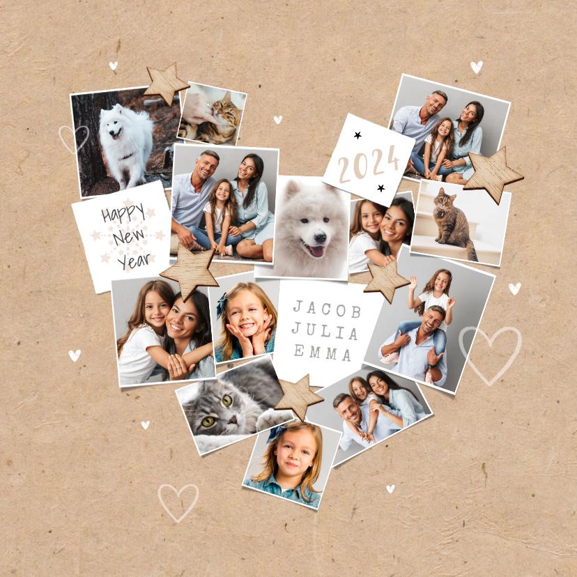 Nieuwjaarskaarten - Nieuwjaarskaart persoonlijk fotocollage hart liefde sterren