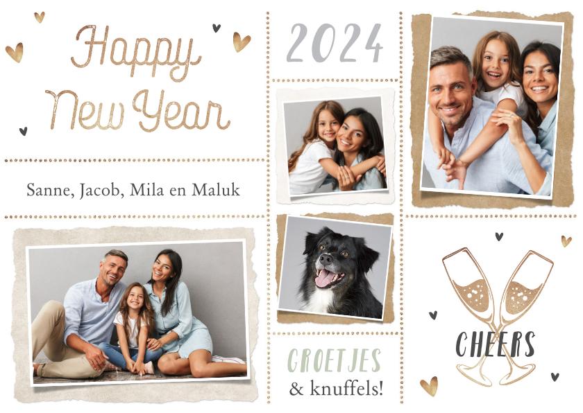 Nieuwjaarskaarten - Nieuwjaarskaart persoonlijk hartjes foto's champagne liefde