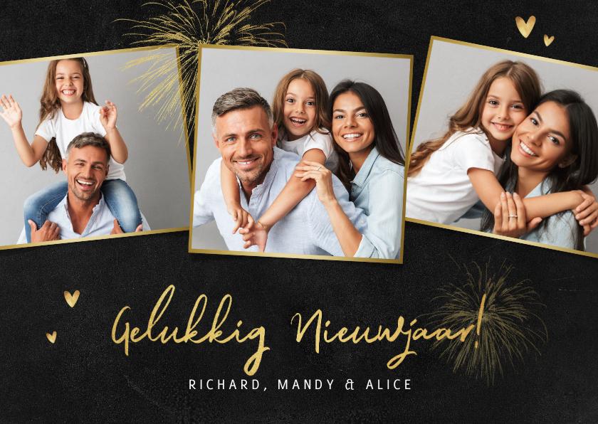 Nieuwjaarskaarten - Nieuwjaarskaart persoonlijk hartjes foto's goud vuurwerk